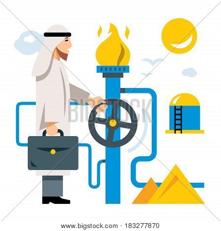 Saudi businessman with a briefcase and storage. Isolated on a white background