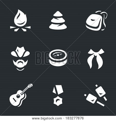 Bonfire, forest, backpack, scout, compass, tie, guitar, medal, food.