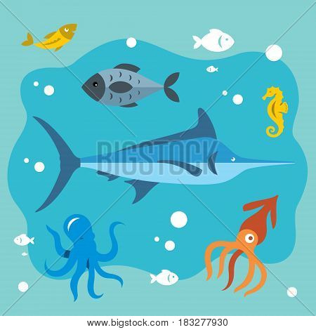 Marlin, fish, sea horse, squid, octopus, goldfish. Isolated on a color background