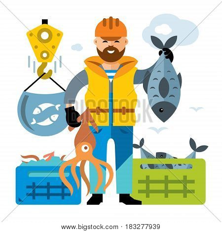 Fisherman holding a fish and squid. Isolated on a white background