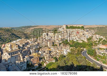 The old baroque town of Ragusa Ibla in Sicily on a sunny day