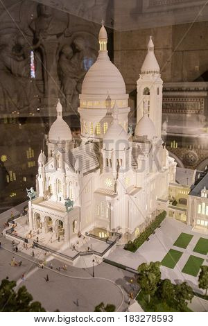 Paris, France, March 26, 2017: The Basilica of the Sacred Heart of Paris scale model
