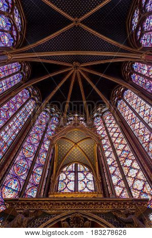 Paris, France, April 1, 2017: The Sainte Chapelle Holy Chapel in Paris, France.