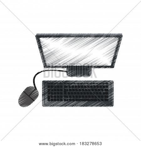 desk computer with keyboard and mouse icon image vector illustration design