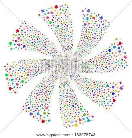 Thumb Up fireworks swirl rotation. Vector illustration style is flat bright multicolored iconic symbols on a white background. Object whirl created from random design elements.