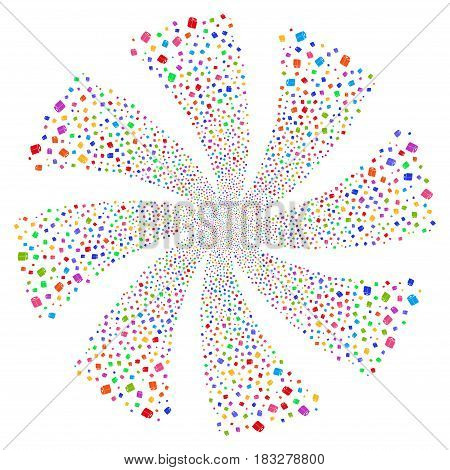 Toilet Paper Roll fireworks swirl rotation. Vector illustration style is flat bright multicolored iconic symbols on a white background. Object whirlpool organized from random design elements.