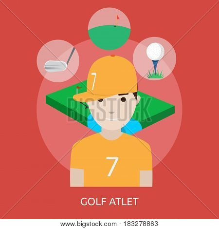 Golf Athlete Conceptual Design | Great flat illustration concept icon and use for human, profession, athlete, work, event and much more.