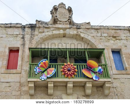 Valletta, MALTA - apr 21, 2017: fragment photo of Colour Festival in Valletta, Malta. Artistic photo of street decoration at Colour Feast in Valleta on april 21, 2017, Malta.