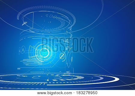 Futuristic three-dimensional interface,Graphic design of science and technology, abstract graphic design.