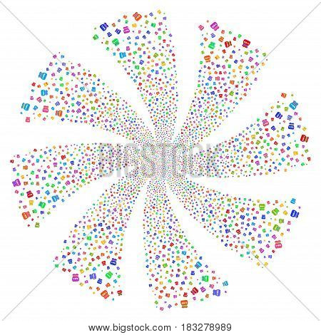 Toxic Rubbish fireworks swirl rotation. Vector illustration style is flat bright multicolored iconic symbols on a white background. Object flower made from random design elements.