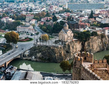 amazing Tbilisi cityscape with view of Metekhi from Narikala Fortress, Georgia