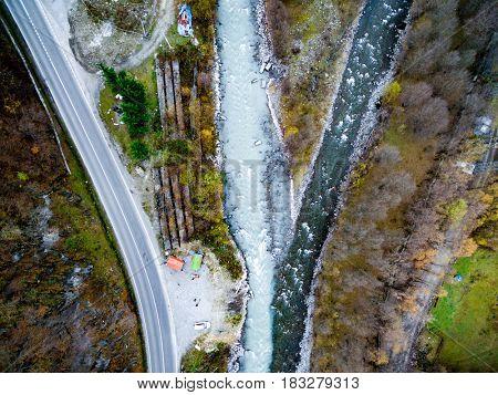 Astonishing Aragvi confluence near Zhinvali village, Georgia, top view
