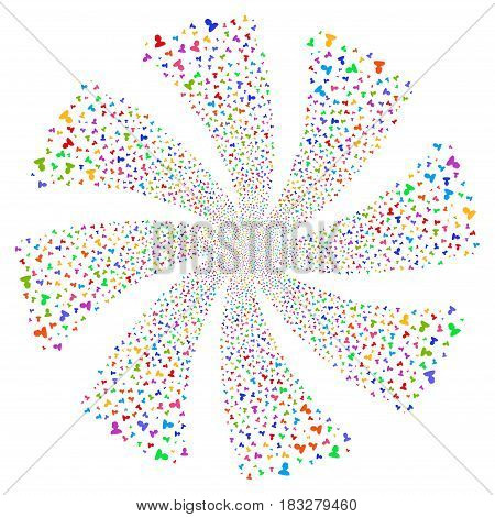 User fireworks swirl rotation. Vector illustration style is flat bright multicolored iconic symbols on a white background. Object flower created from random symbols.