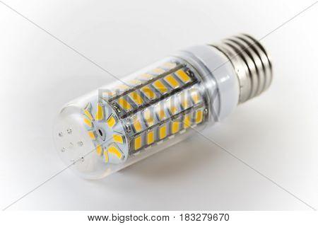 Bulb led on a white background, one