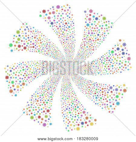 Virus fireworks swirl rotation. Vector illustration style is flat bright multicolored iconic symbols on a white background. Object twirl done from random symbols.