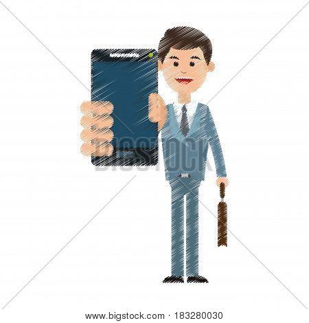 businessman using phone icon image vector illustration design
