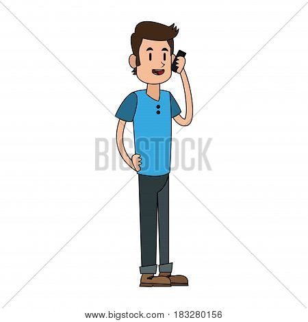 man talking on the phone icon image vector illustration design