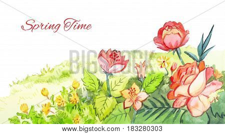 Spring watercolor footer. Red flowers drawing with watercolor paints. Illustration