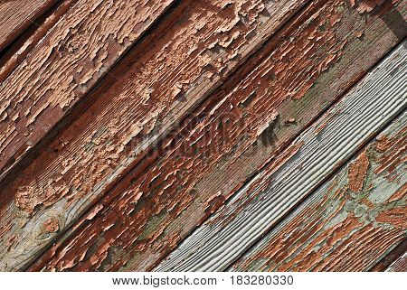 fragment of wooden boards with old paint