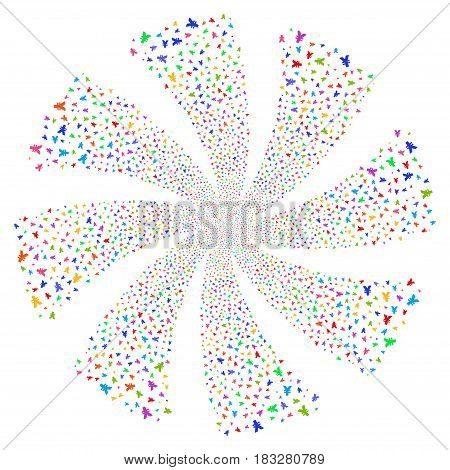 Yen fireworks swirl rotation. Vector illustration style is flat bright multicolored iconic symbols on a white background. Object spiral made from random design elements.