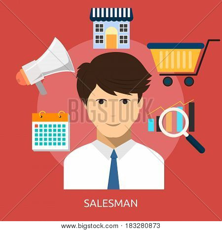 Salesman Conceptual Design | Great flat illustration concept icon and use for human, profession, athlete, work, event and much more.