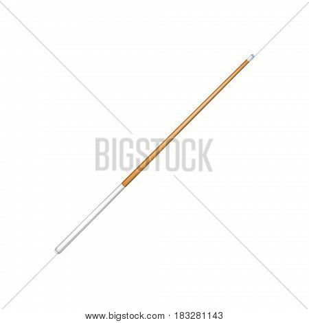 Billiard cue with white handle on white background