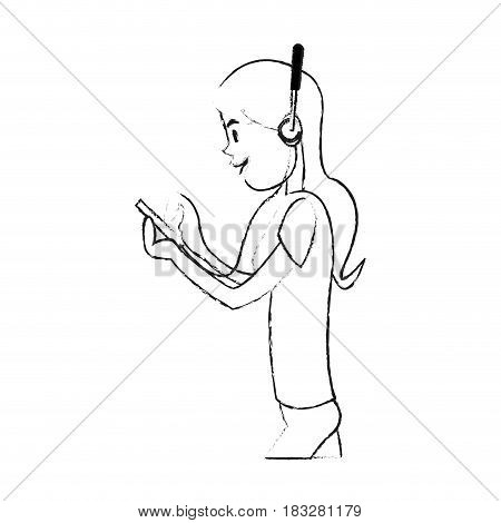 girl using phone with headphones icon image vector illustration design