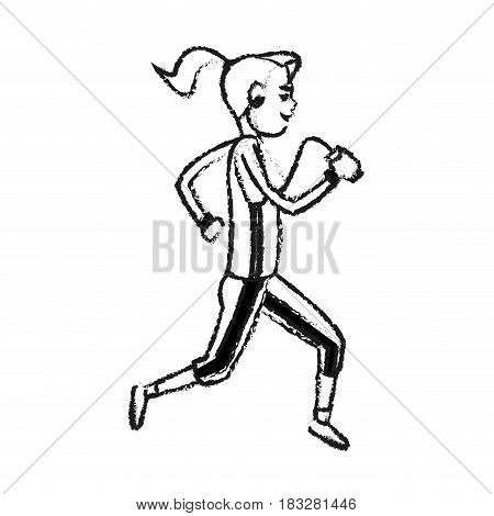 girl running with phone and headphones icon image vector illustration design