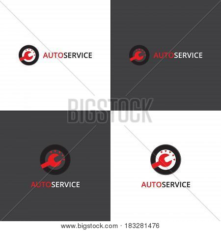 Vector eps logotype about car service works in eps 10 horizontal and vertical view