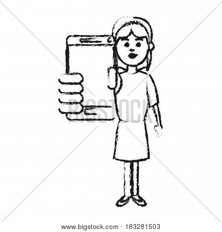 girl holding phone icon image vector illustration design