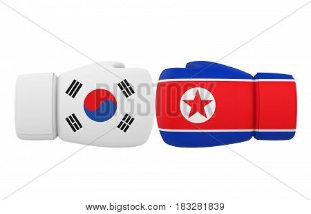 Boxing Gloves with South Korea and North Korea flags isolated on white background. 3D render