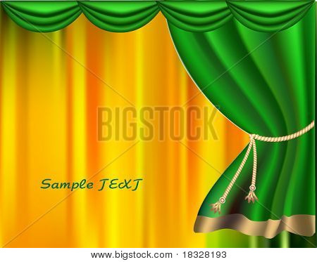 The elegant theater curtain with gold edging. Vector poster