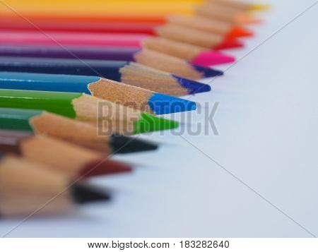 Color Pencil With Free Text Space On Whtie Background.