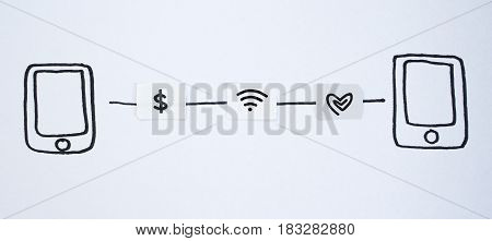 Drawing smart phone and small paper simulated as a SIM card. Dollar wifi and heart symbol on paper sim cards