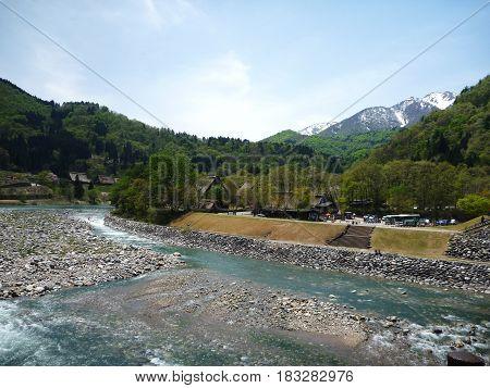 View from the bridge crossing at Shirakawago village