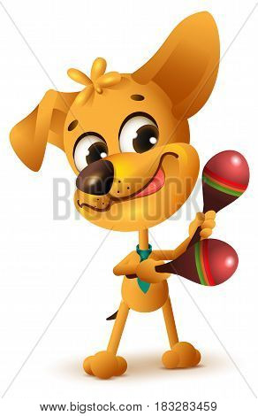 Funny yellow dog plays maracas. Isolated on white vector cartoon illustration