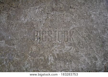 Old concrete gray floor with streaks. The texture of the old cement is shown