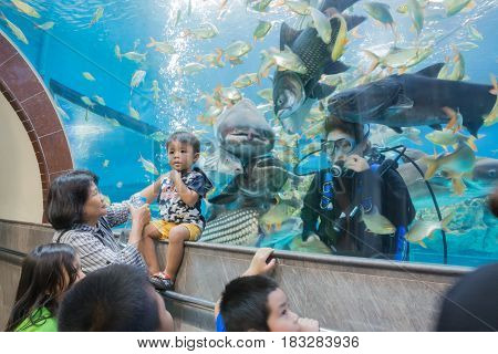 SUPHAN BURITHAILAND - 14 April : Aquarium lake Chawak on 14 April in SUPHAN BURI Thailand.Diver Feeding Show children to see.