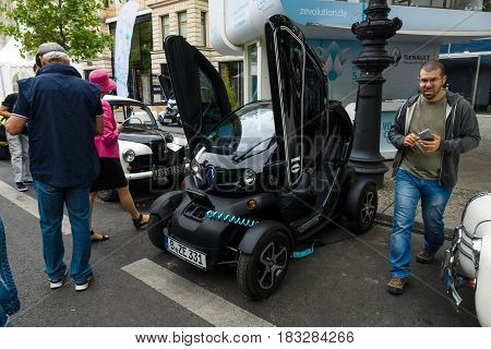 BERLIN - JUNE 14 2015: Electric car two-passenger electric vehicle Renault Twizy Z.E. The Classic Days on Kurfuerstendamm.