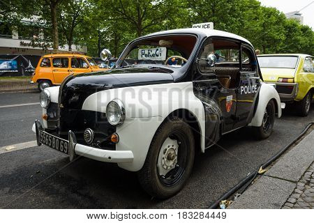 BERLIN - JUNE 14 2015: Compact car Renault 4CV (Police car). The Classic Days on Kurfuerstendamm.