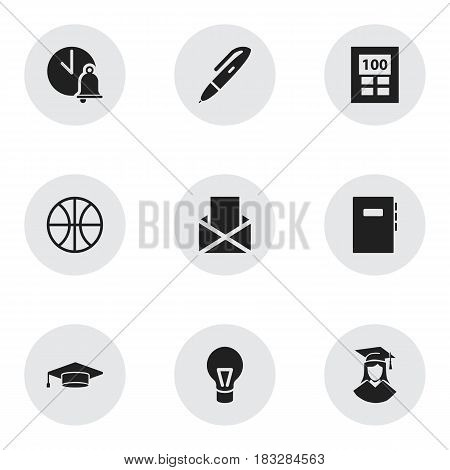 Set Of 9 Editable Education Icons. Includes Symbols Such As Workbook, School Bell, Graduate And More. Can Be Used For Web, Mobile, UI And Infographic Design.