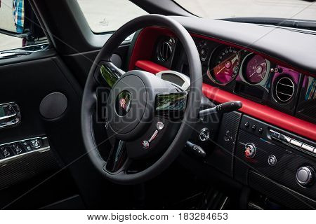 BERLIN - JUNE 14 2015: The cockpit of the luxury car Rolls-Royce Phantom Drophead Coupe (since 2007). The Classic Days on Kurfuerstendamm.