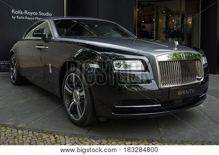 BERLIN - JUNE 14 2015: Full-size luxury car Rolls-Royce Wraith (since 2013). The Classic Days on Kurfuerstendamm.