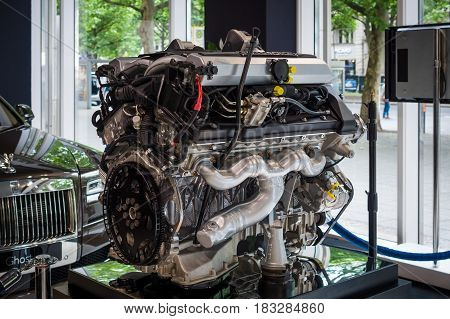 BERLIN - JUNE 14 2015: Engine V12 DOHC (BMW N73) of the Rolls-Royce. Black and white. The Classic Days on Kurfuerstendamm.