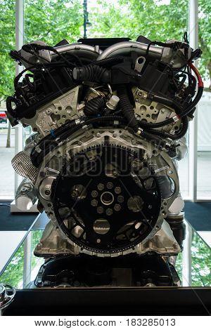 BERLIN - JUNE 14 2015: Engine V12 DOHC (BMW N73) of the Rolls-Royce. The Classic Days on Kurfuerstendamm.