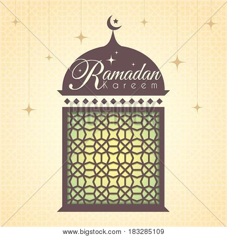 Ramadan greeting card with decorative mosque shape and islamic pattern on starry background. Ramadan Kareem means Ramadan the Generous Month.