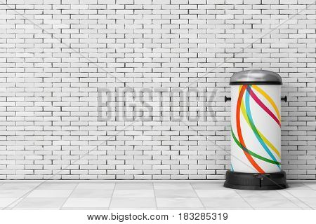 White Metal Trash Can with Pedal in front of brick wall. 3d Rendering.