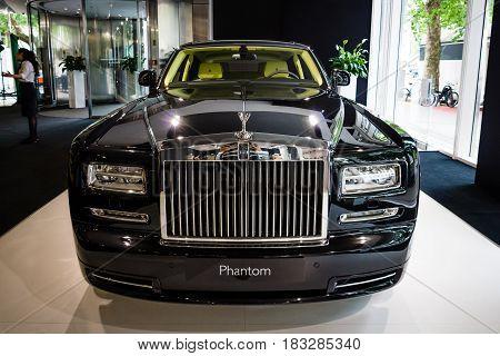 BERLIN - JUNE 14 2015: Full-size luxury car Rolls-Royce Phantom Series II (since 2012). The Classic Days on Kurfuerstendamm.