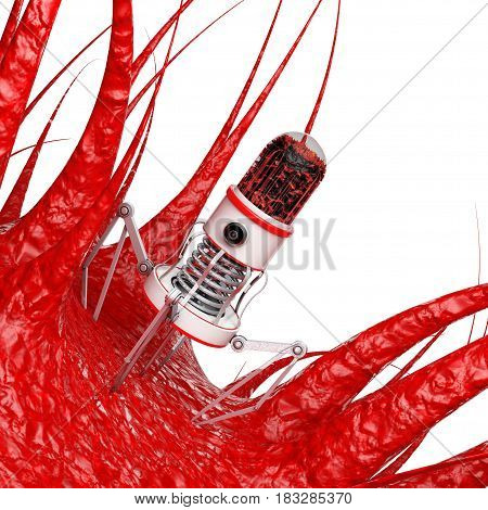 Blood Nano Robot with Camera Claws and Needle over Virus Bacteria Microbe on a white background. 3d Rendering.