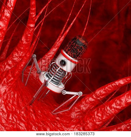 Blood Nano Robot with Camera Claws and Needle over Virus Bacteria Microbe extreme closeup. 3d Rendering.